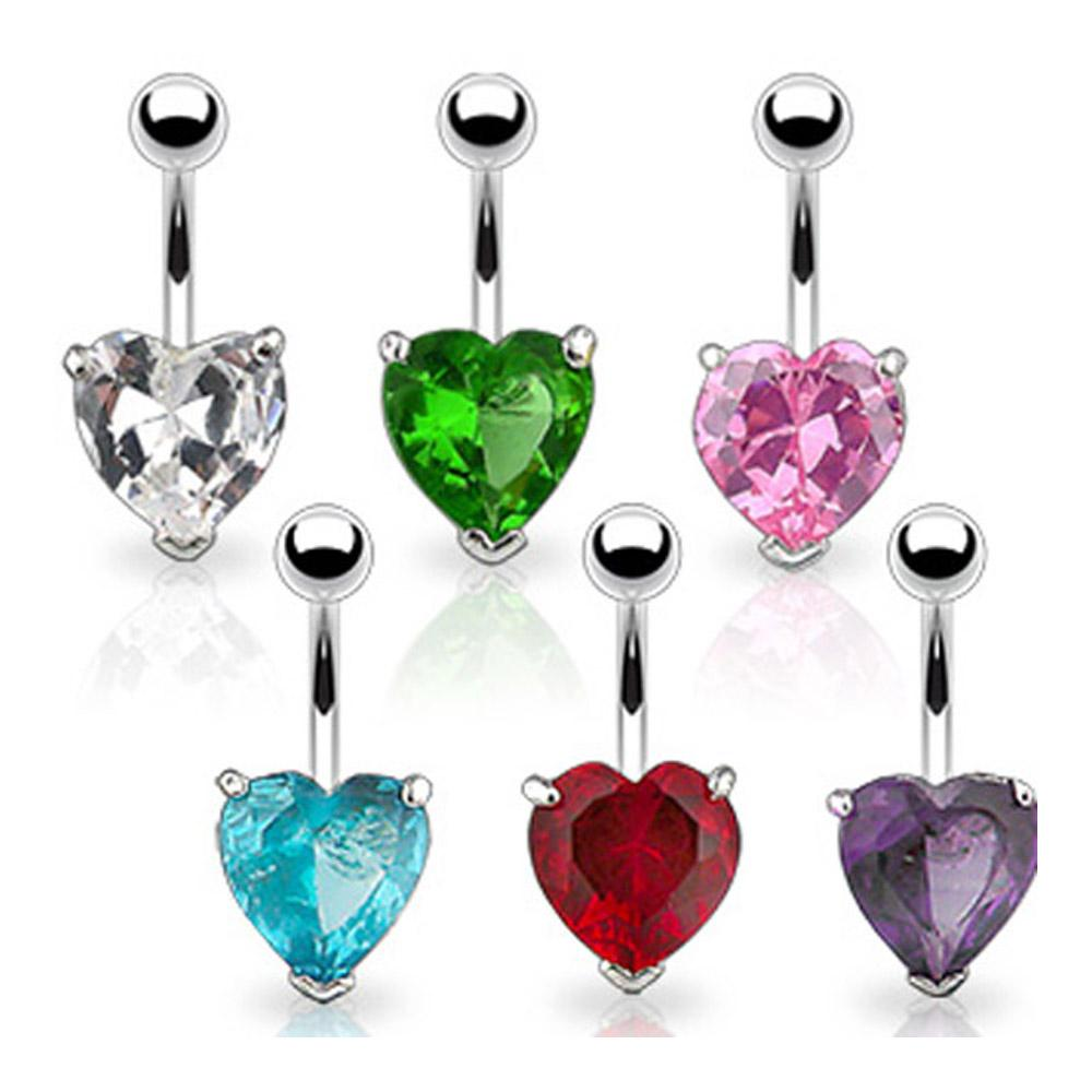 "Navel Belly Button Ring with Prongset Large 10mm Heart CZ - 14GA 3/8"" Long"