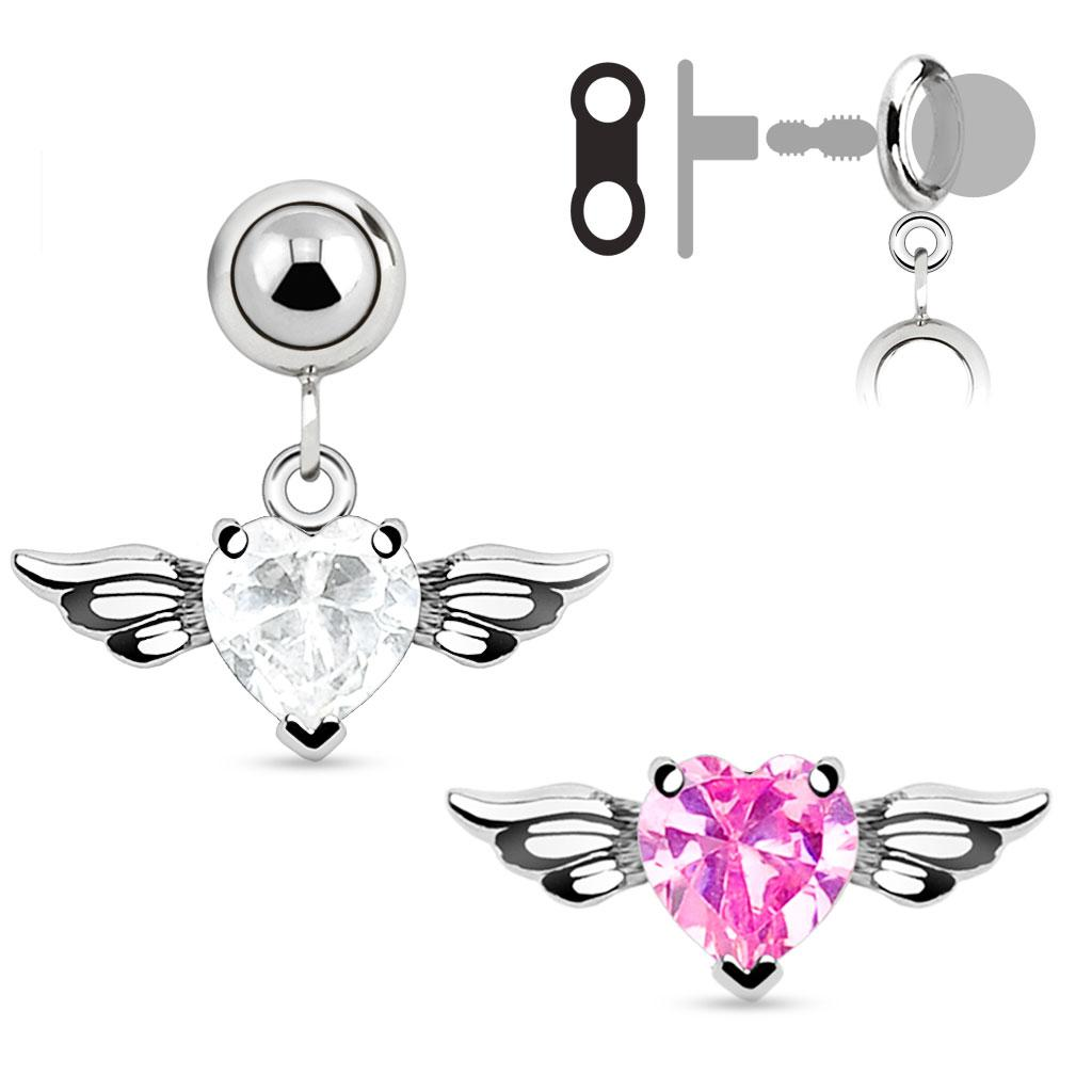 Add-On CZ Gem Angel Wing Heart Dangle Navel Belly Button Ring, Dermal Anchors and More