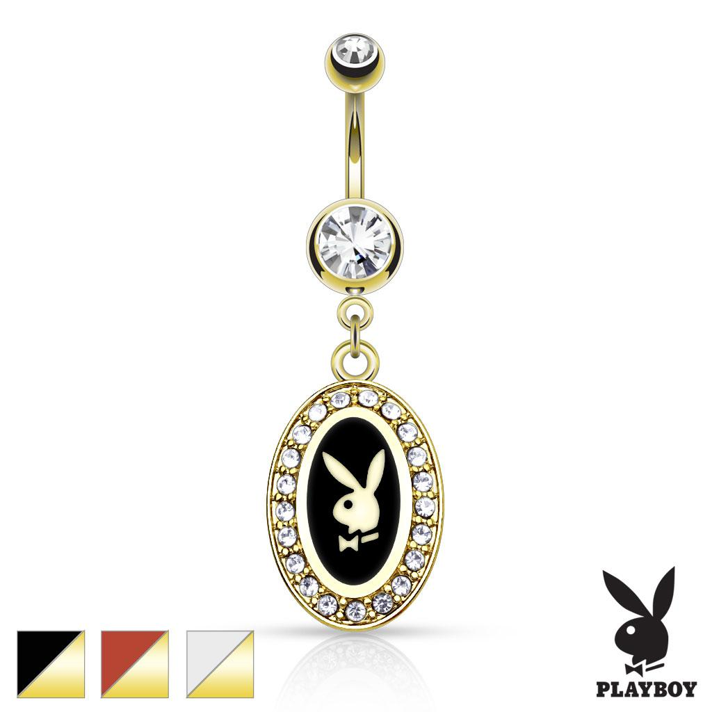 Playboy Bunny Round Frame With Paved Gems Dangle gold-plated Navel Ring
