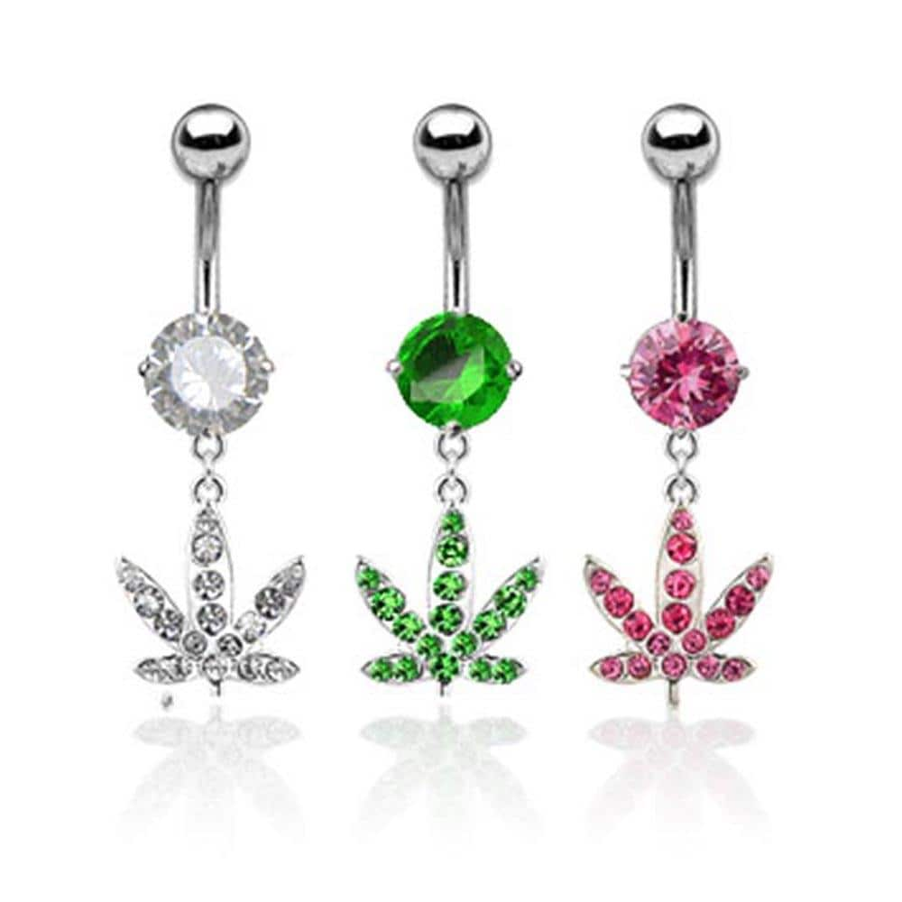 "Stainless Steel Navel Belly Button Ring with Gem Paved Pot Leaf Dangle - 14 GA 3/8"" Long"