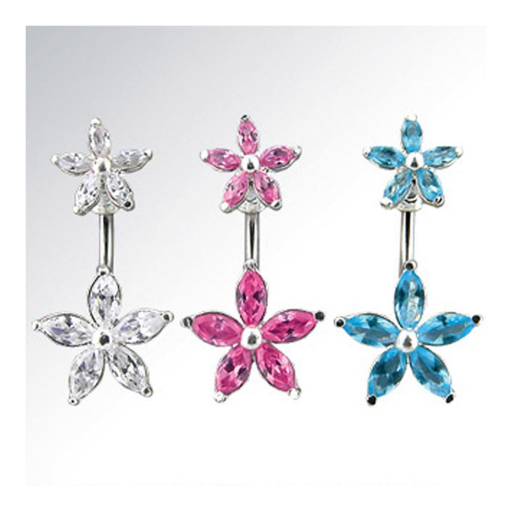 "Navel Belly Button Ring with CZ Flower CZ Flower Top - 14GA 3/8"" Long - Thumbnail 0"