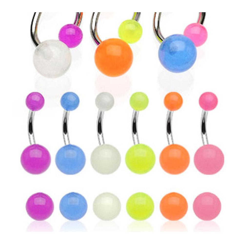 """Stainless Steel Navel Belly Button Ring with Glow In The Dark Balls - 14GA 3/8"""" Long"""