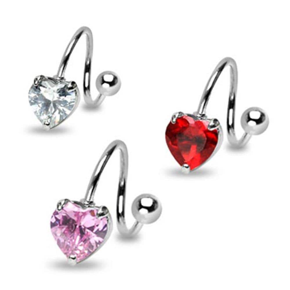 """Stainless Steel Navel Belly Button Ring Twist with Prong-Set 7mm Heart CZ- 14 GA 7/16"""" Long"""