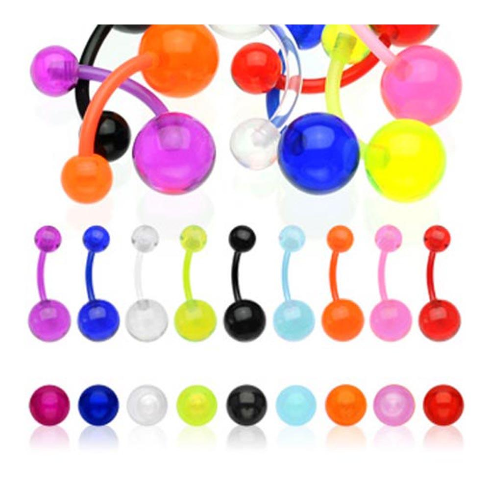 "Flexible Navel Belly Button Ring with Transparent UV Ball - 14GA 3/8"" Long (5 & 8 mm Ball)"