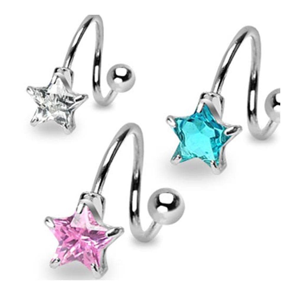 """Stainless Steel Navel Belly Button Ring Twist with Prong-Set 7mm Star CZ - 14 GA 7/16"""" Long"""