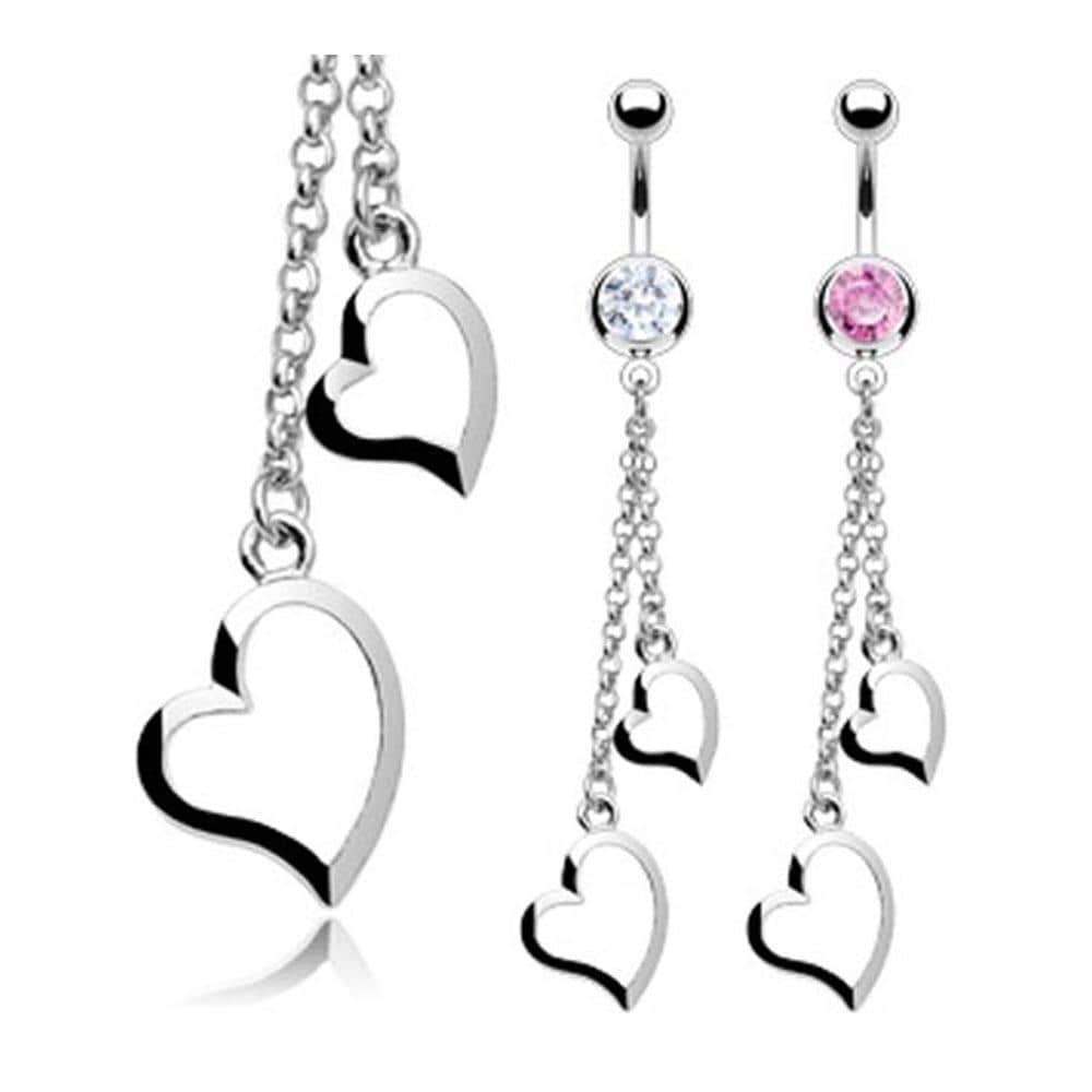 "Stainless Steel CZ Navel Belly Button Ring with Two Heart Chain Dangle - 14 GA 3/8"" Long"