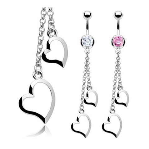 """Stainless Steel CZ Navel Belly Button Ring with Two Heart Chain Dangle - 14 GA 3/8"""" Long"""