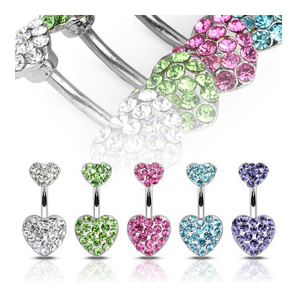 "Stainless Steel Navel Belly Button Ring with Pave Gemmed Hearts - 14 GA 3/8"" Long"