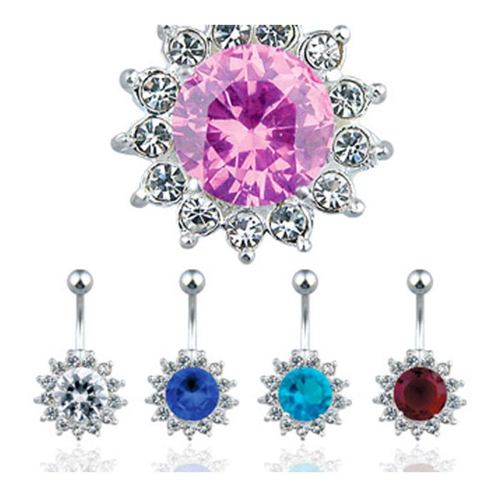 "Navel Belly Button Ring with Large CZ and Flower CZs Around - 14GA 3/8"" Long"