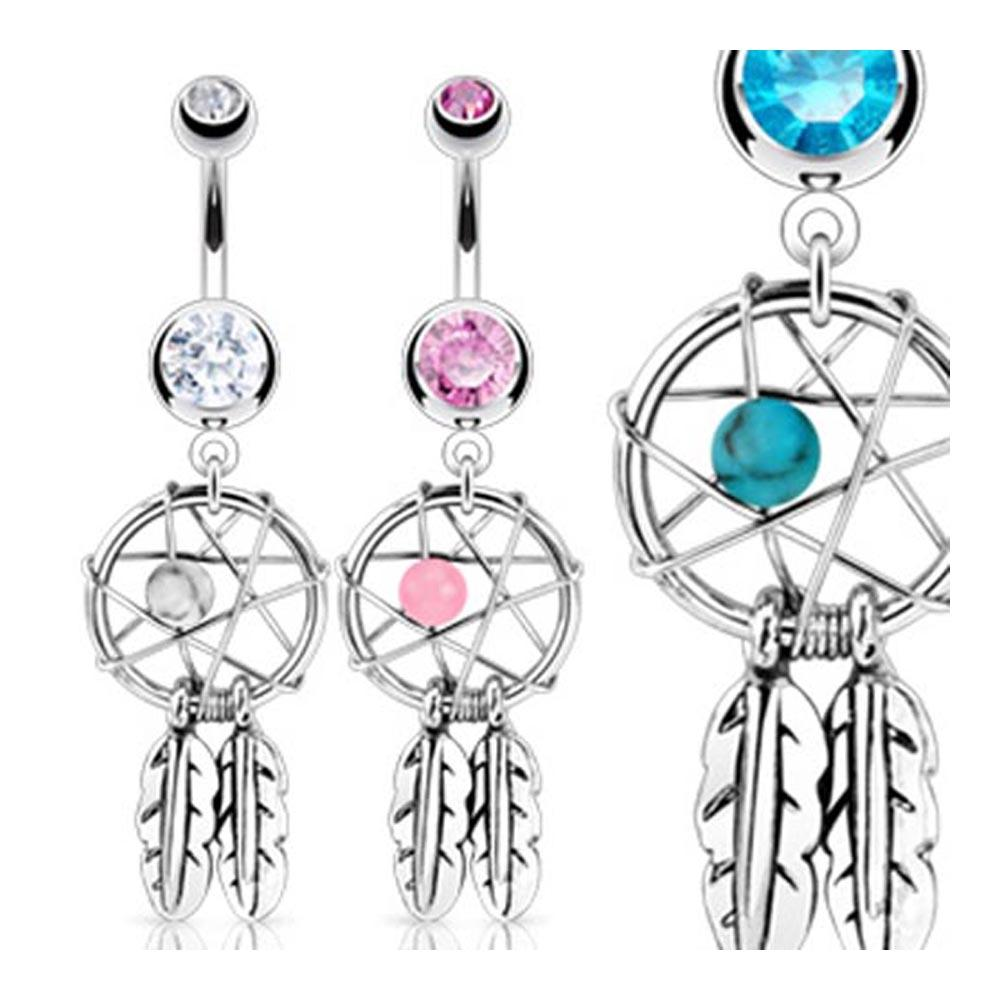 "Stainless Steel Dream Catcher with Bead Feathers Naval Navel Belly Button Ring - 14GA 3/8"" Long"