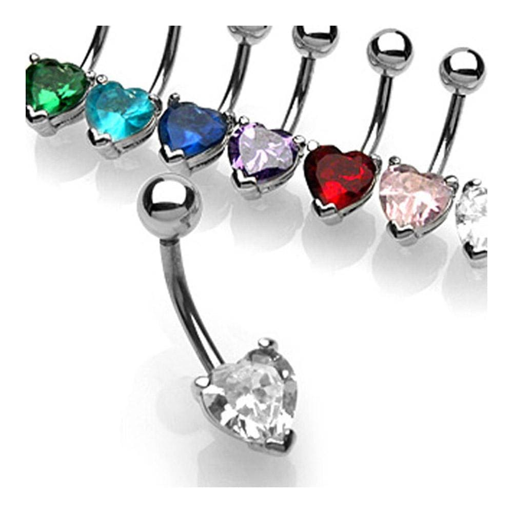 """Navel Belly Button Ring with Prong set 7mm Solitare Heart CZ - 14GA 3/8"""" Long"""