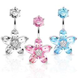 "Navel Belly Button Ring with CZ Flower CZ Round Top - 14 GA 3/8"" Long - Thumbnail 0"