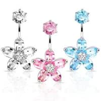 "Navel Belly Button Ring with CZ Flower CZ Round Top - 14 GA 3/8"" Long"