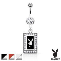 Playboy Bunny Square Frame with Paved Gems Dangle Navel Ring