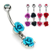"Double Metal Rose Navel Belly Button Ring with Gem Ball - 14GA 3/8"" Long"