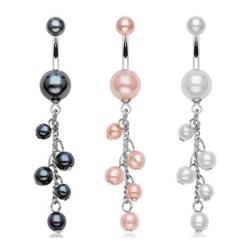 """Pearl Coated Navel Belly Button Ring with Pearlish Beads Dangle - 14 GA 3/8"""" Long"""