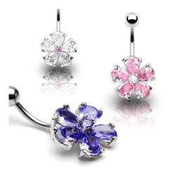 "Stainless Steel Multi Tear Drop Gem Flower Navel Belly Button Ring - 14 GA 3/8"" Long - Thumbnail 0"
