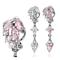 "Cluster CZ Drop Navel Belly Button Ring - 14 GA 3/8"" Long"