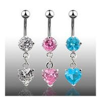 "Navel Belly Button Ring with CZ Heart CZ Dangle - 14GA 3/8"" Long"
