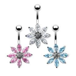 "Gem Flower Navel Belly Button Ring with Titanium Shaft Rhodium Plating - 14GA 3/8"" Long - Thumbnail 0"