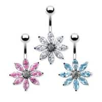 "Gem Flower Navel Belly Button Ring with Titanium Shaft Rhodium Plating - 14GA 3/8"" Long"