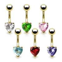 "Gold Plated Navel Belly Button Ring with 6mm Heart CZ - 14 GA - 3/8"" Long"