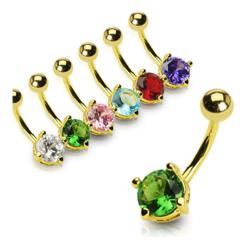 "Gold Plated Navel Belly Button Ring with 6mm Round CZ - 14GA - 3/8"" Long - Thumbnail 0"