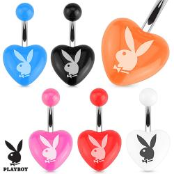 Playboy Bunny Printed Heart Acrylic 316L Surgical Steel Navel Belly Button Ring