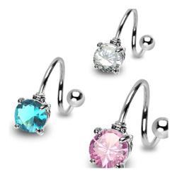 """Stainless Steel Navel Belly Button Ring Twist with Prong-Set Round 7mm CZ - 14 GA 7/16"""" Long"""