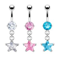 "Navel Belly Button Ring with CZ Star and Dangle - 14GA 3/8"" Long - Thumbnail 0"