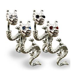 "Navel Belly Button Ring with Rodium Plated Dragon with Gemed Eyes - 14GA 3/8"" Long"
