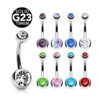 "Grade 23 Solid Titanium Double Gem Ball Navel Belly Button Ring (Sold Individually)  - 14 GA 3/8"" Long"