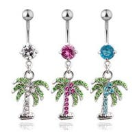 """Stainless Steel Navel Belly Button Ring with High Quality CZ Pave Gem Palm Tree- 14 GA 3/8"""" Long"""