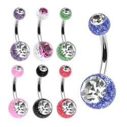 "Stainless Steel Navel Belly Button Ring with 2 Ultra Glitter Gem Balls - 14 GA 3/8"" Long - Thumbnail 0"