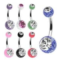 "Stainless Steel Navel Belly Button Ring with 2 Ultra Glitter Gem Balls - 14 GA 3/8"" Long"