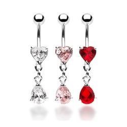 "CZ Heart Navel Belly Button Ring with Tear Drop CZ Dangle - 14GA 3/8"" Long - Thumbnail 0"