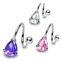 "Stainless Steel Navel Belly Button Ring Twist with Prong-Set Tear Drop CZ - 14 GA 7/16"" Long"