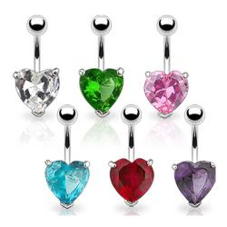 """Navel Belly Button Ring with Prongset Large 10mm Heart CZ - 14GA 3/8"""" Long"""