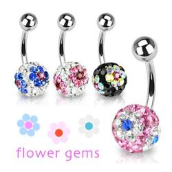 "Stainless Steel Navel Belly Button Ring with Crystal Ferido Multi Flower Ball - 14 GA 3/8"" Long - Thumbnail 0"