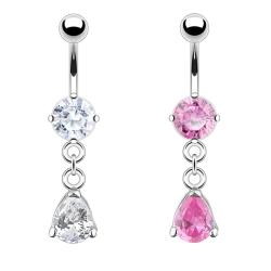 """Navel Belly Button Ring with Round CZ and Pear Dangle - 14GA 3/8"""" Long - Thumbnail 0"""