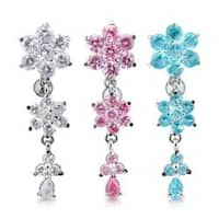 "Triple Flower Gem Navel Belly Button Ring with Titanium Shaft Rhodium Plating - 14GA 3/8"" Long"