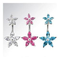 """Navel Belly Button Ring with CZ Flower CZ Flower Top - 14GA 3/8"""" Long - Thumbnail 0"""
