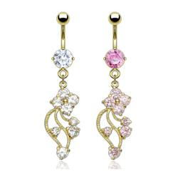 """Gold Plated Navel Belly Button Ring with CZ Vine - 14GA 3/8"""" Long"""