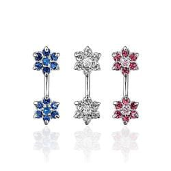 "Navel Belly Button Ring with Double CZ Flowers - 14GA 3/8"" Long"