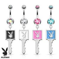 Playboy Bunny Enamel Key 316L Surgical Steel Navel Belly Button Ring