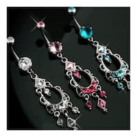 """Chandelier Navel Belly Button Ring with Stones - 14GA 3/8"""" Long"""