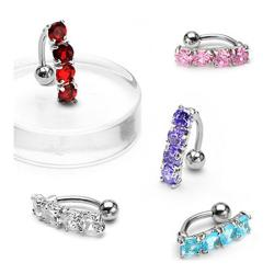 """Navel Belly Button Ring with Top Drop 4-Gem - 14GA 3/8"""" Long"""