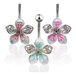 "Navel Belly Button Ring with Pave Gemed Tropical Flower - 14GA 3/8"" Long"