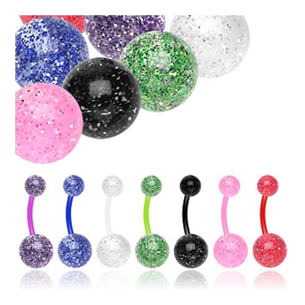 """BioFlex Navel Belly Button Ring with Ultra Glitter UV Balls - 14 GA 3/8"""" Long (5x8mm Balls)"""