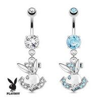Playboy Bunny with Paved Gemmed Anchor Dangle 316L Surgical Steel Navel Belly Button Ring